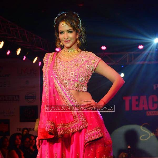 Lakshmi Manchu walks the ramp at Teach for Change, a charity fashion show powered by LivLife Hospitals, in Hyderabad.