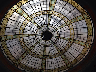 The glass dome in the ceiling of reception at the Palace Hotel