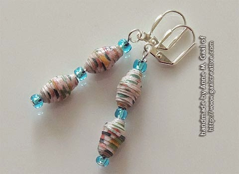 Silver and Blue Paper Bead Leverback Earrings handmade by Anne Gaal of http://www.gaalcreative.com