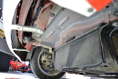 Fiat 500e under car
