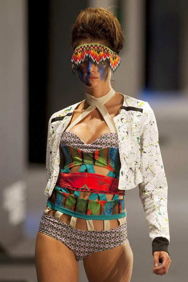 A model presents a creation by design students of Colombia's Andean Region University Foundation, during the Colombiamoda fashion show in Medellin, Antioquia department, Colombia, on July 22, 2014.