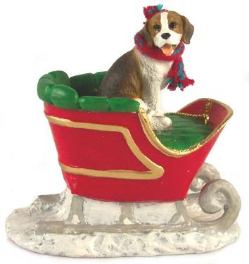 Beagle Dog in Sleigh Christmas Ornament New