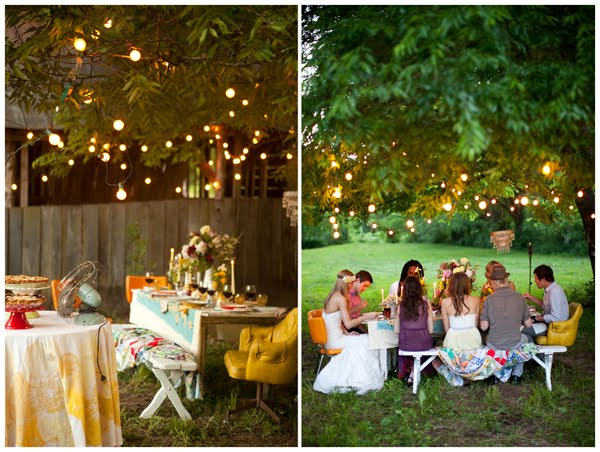 Family Backyard Party Ideas : Another outdoor affair, consider lining your dance floor area with