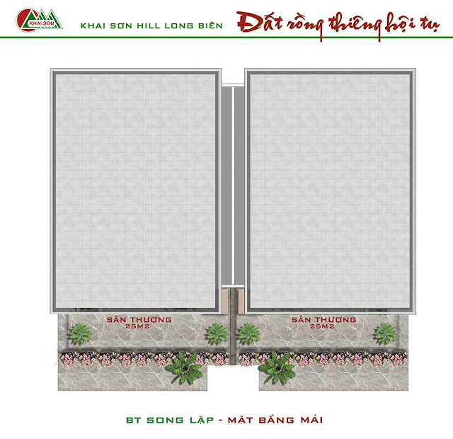 Thiết kế tầng mái biệt thự song lập
