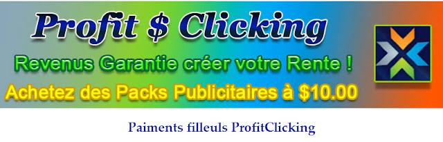 Gagner de l'argent en ligne sur internet  - Paiments et filleuls ProfitClicking