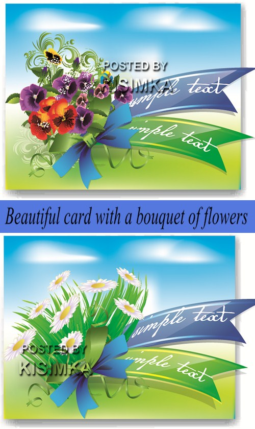 Stock: Beautiful card with a bouquet of flowers