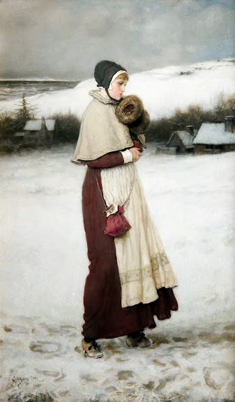 George Henry Boughton - Girl with a Muff, Winter Scene