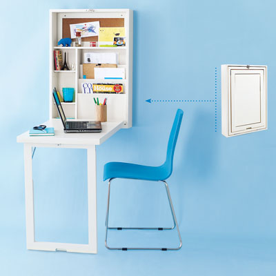 simple and narrow wall mounted folding laptop desk for small