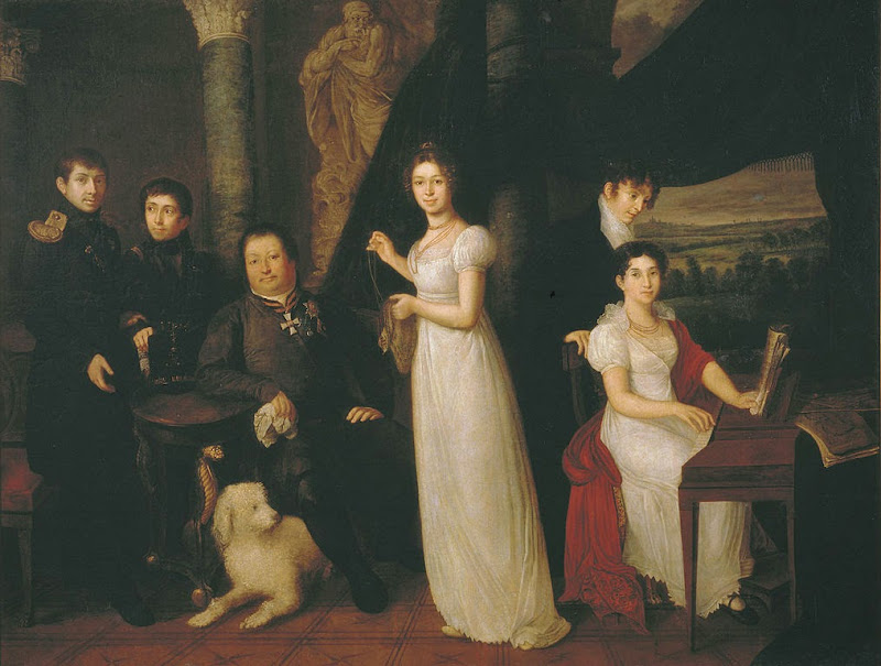 Vasily Tropinin - Family portrait of counts Morkovs, 1813