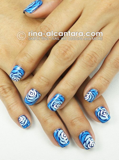 Blue Wave Nail Art Design - Two Hands
