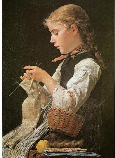 Albert Anker - Strickendes Mädchen 1884
