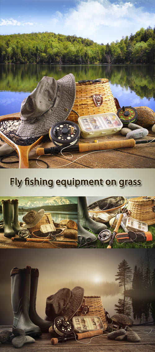 Stock Photo: Fly fishing equipment on grass