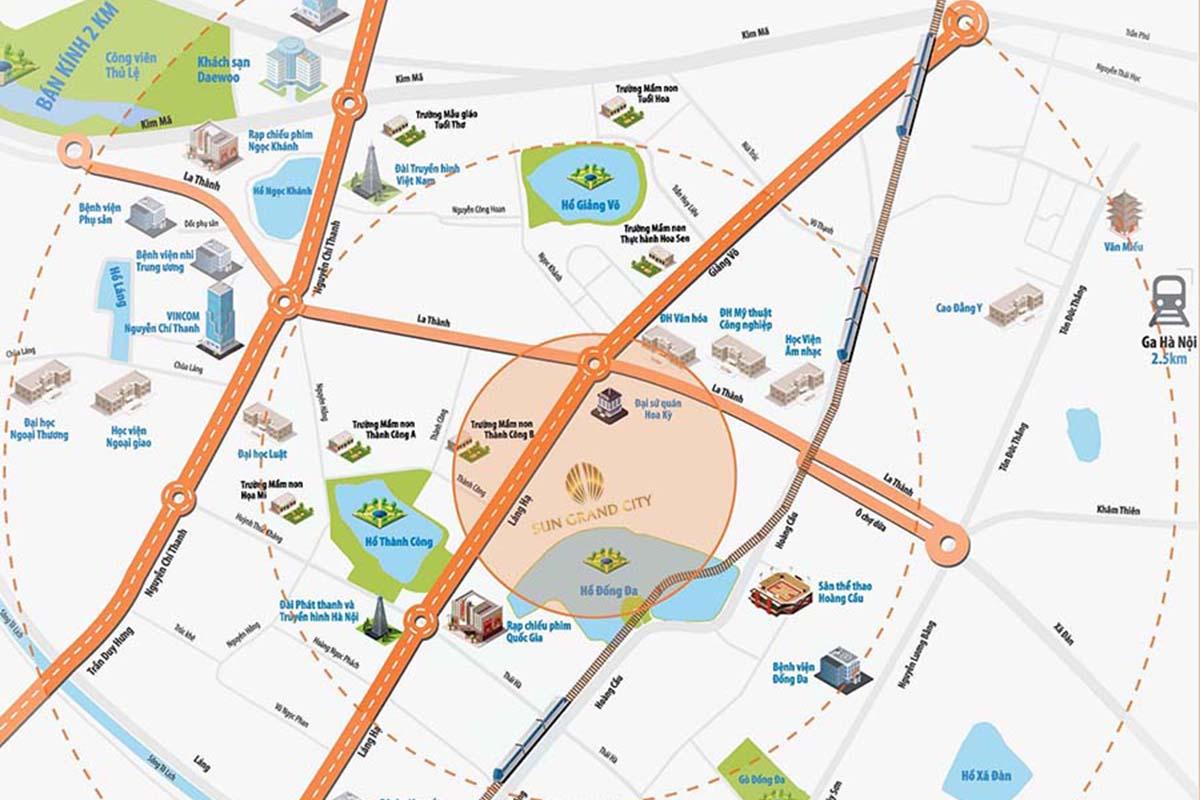 Vị trí Chung cư Sun Grand City 31 Láng Hạ