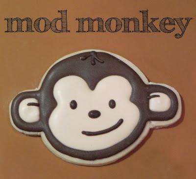 mod monkey sugar cookie birthday royal icing