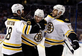 Nathan Horton, David Krejci and Milan Lucic celebrate a Bruins goal