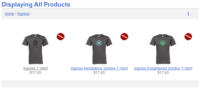 Ingress Merchandise Now Available