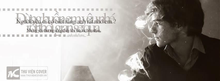 ảnh bìa facebook người đàn ông hút thuốc buồn