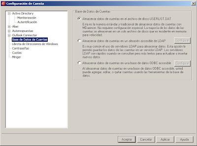 Gestión de cuentas de usuario de MDaemon, fichero, LDAP, base de datos ODBC