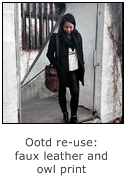 ootd re-use fall outfit faux leather and owl shirt