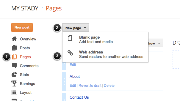 screenshot: adding links to Blogger's Page List widget