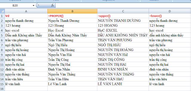 Tự động viết hoa kí tự đầu tiên Họ Và Tên trong Excel PROPER UPPER LOWER