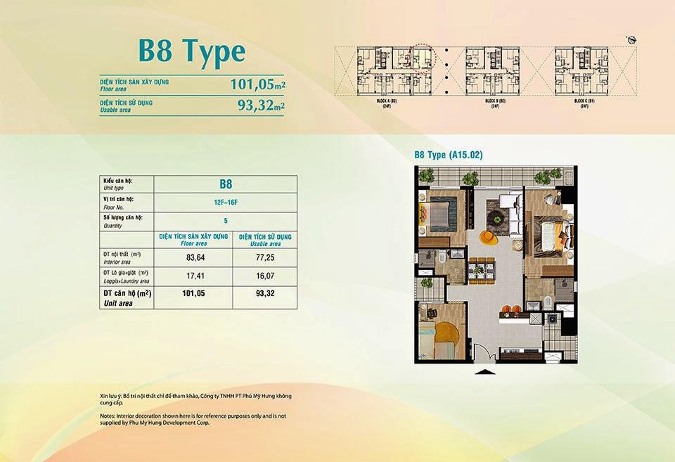 Căn hộ Scenic Valley Phú Mỹ Hưng, kiểu B8, 101.05m2 có thiết kế 3 phòng ngủ