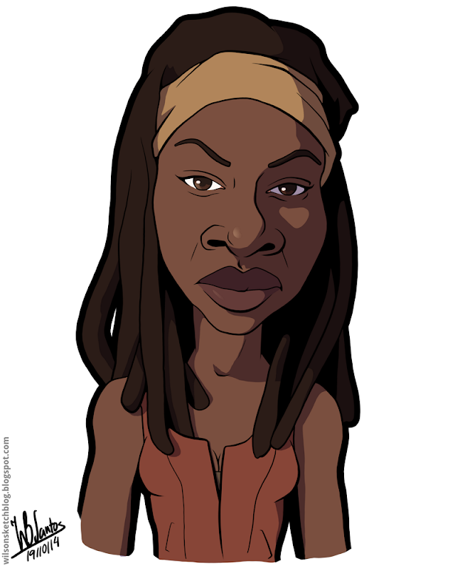 Cartoon caricature of Danai Gurina as Michonne from the Walking Dead.