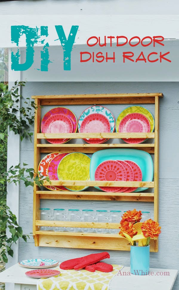 The plates mugs and platter (it\u0027s a beautiful ombre color) is from Target and were very reasonable priced.  sc 1 st  Ana White & Ana White | Outdoor Dish / Plate Rack - DIY Projects
