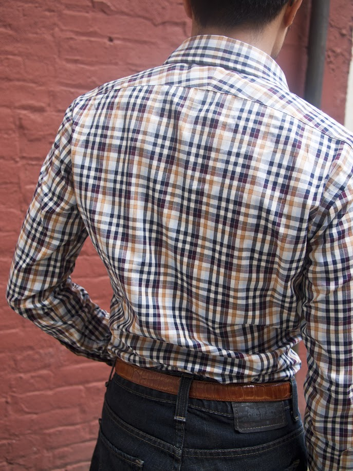 Rear fit shot of Ratio Clothing Ogden Plaid shirt