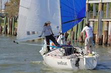J/24 sailboat- sailing in JFest Houston, Texas