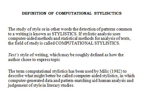 stylistic analysis definition