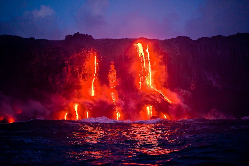 Hot magma flowing from Hawaiian Volcanoes