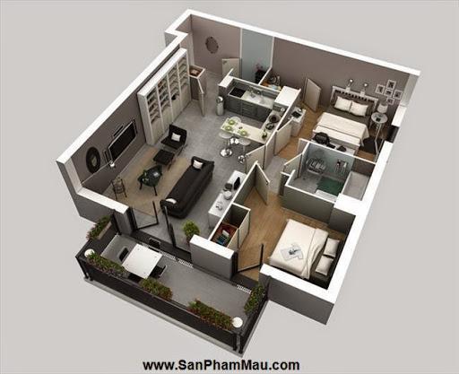 Phương án thiết kế mặt bằng có 2 phòng ngủ đẹp - Tủ âm tường-5