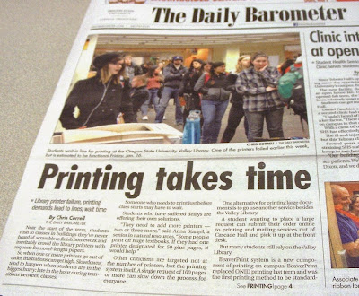 OSU student newspaper front-page showing line for computer printers Barometer, Jan. 16, 2015, p. 1