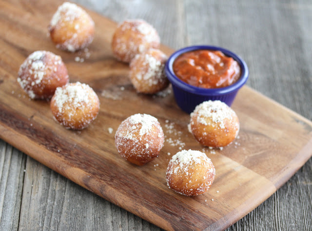 Fried Pizza Balls with dipping sauce