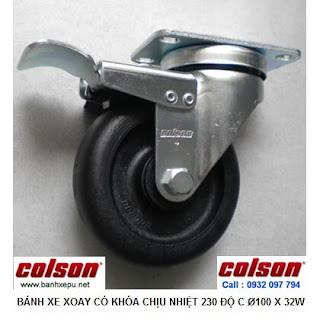 Bánh xe đẩy hàng chịu nhiệt 230 độ Colson có khóa | 2-4646-53HT-BRK4