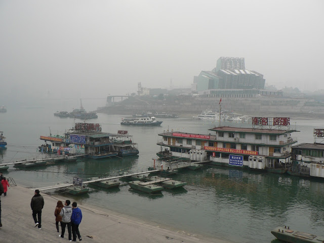 view of Chongqing Grand Theatre across the Jialing River in 2009