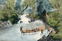 Voyageurs walking a canoe up through the rapids, 1870-73. Handcoloured lithograph