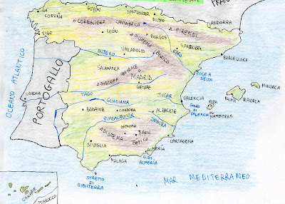 Cartina Fiumi Spagna.Carta Muta Della Spagna Laceprof Materiali