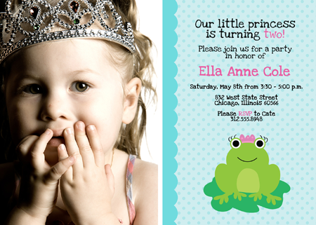 New Birthday Invitation Photoshop Templates - Frog Princesses!