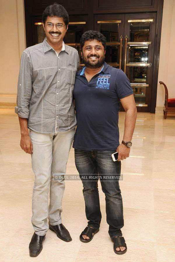 Subbu Panju and Gnanavel Raja during the birthday celebration, held at The Leela Palace, in Chennai.