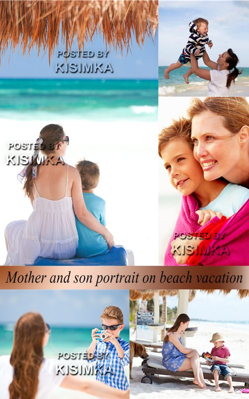 Stock Photo: Mother and son portrait on beach vacation