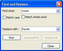 "The ""Find and Replace"" Dialog box in Raven/RavenPlus"