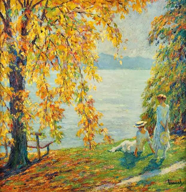 Edward Cucuel - Two Girls in White Beside a Lake in Autumn