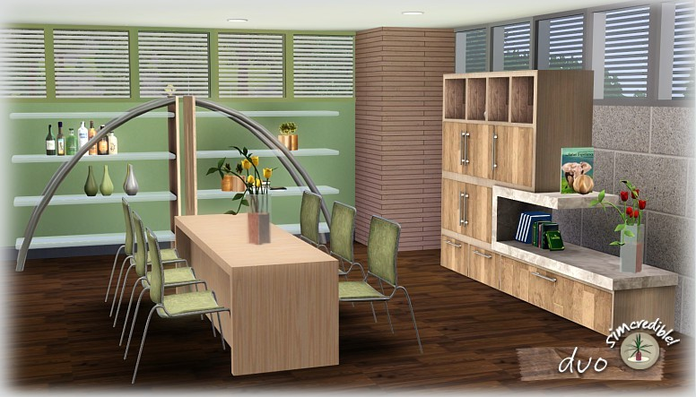 My sims 3 blog duo dining room set by simcredible designs for Sims 3 dining room ideas
