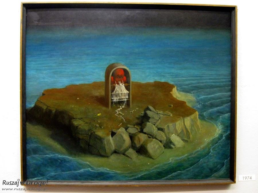 Obraz na wystawie Beksińskiego w Przemyślu