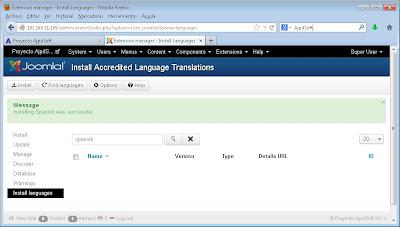 Instalar idioma y establecer idioma por defecto para la administración de Joomla! 3.1
