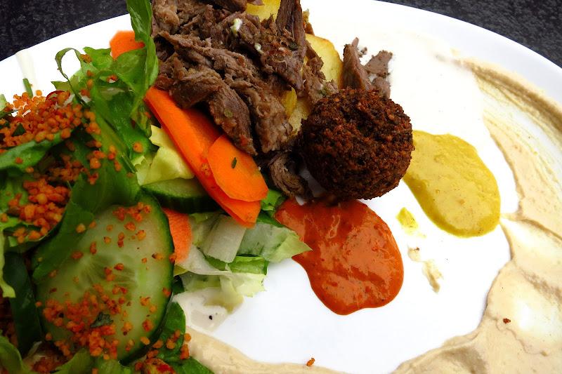 Schwarma, hummus, salad, falafel
