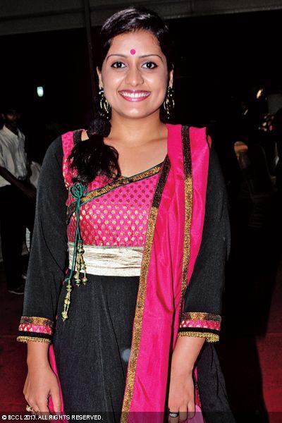Sarayu at the wedding reception of Singer Ranjini Jose and Ram Nair, held in Kochi.