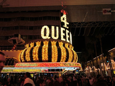 Four queens casino sign downtown vegas stock photo